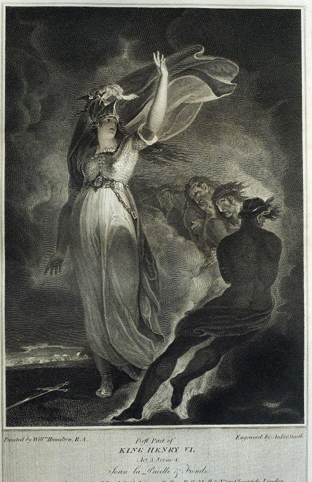 《亨利六世》第五幕插圖,出自:《莎士比亞劇作集》。催生這套莎士比亞版本的約翰‧保德勒(John Boydell,1720-1804),是位傳奇人物。他生於英格蘭的道靈頓(Dorrington),1739年,他成為國會議員約翰‧羅騰(John Lawton)的家僕,並隨之搬遷到倫敦。一年後,就像當時許多有進取心的年輕人,保德勒為了尋夢,航行到東印度,最後,卻為了他的情人,後來的妻子伊麗莎白‧羅伊(Elizabeth Lloyd),放棄原本的計畫,回到夫林特郡(Flintshire)。 1740-1741間,他看到一幅威廉‧亨利‧湯姆斯(William Henry Toms)刻製的哈瓦登城(Hawarden Castle)的版畫,立即迷上其美麗的景象,促使他立即出發前往倫敦,學習版畫。保德勒成為湯姆斯的學徒,並在聖馬丁巷美院(St. Martin's Lane Academy) 註冊,開始學習繪畫。每天,他為湯瑪斯工作十四個小時,然後參加晚上的繪畫課程。1746年,他結束六年的學徒生涯,在倫敦的斯特蘭德街(Strand)自己開店,專營地理版畫。保德勒很早就意識到他個人在版畫創作上的藝術才能有限,1751年,他開始購買其他藝術家的版畫發行,例如威廉‧霍加斯﹝William Hogarth,1697 ~ 1764﹞等,以彌補開銷。這種藝術家與版畫商人的雙重角色,改變了印刷作坊的傳統組織方式。在1740年代,自己獨立開店是相當冒險的,因為當時並沒有嚴格的版權法,至於1734年通過的版畫版權法令,也鮮少被提及,盜版嚴重影響像保德勒這樣的出版商的獲利。然而,保德勒年輕時就承擔創業責任,可以看出他一個有野心和進取精神的人,敏銳的先見,也一再為他的事業帶來種種創舉。1761年,保德勒決定嘗試以交換版畫作品的方式,出口英國版畫到法國。過去,由於英國版畫的品質不高,因此一直被法國拒絕。為了改變英國版畫粗糙的印象,必須印製出令人驚艷的作品,最後,保德勒雇用英國版畫先鋒威廉‧伍列特(William Woollett, 1735-1785)刻製畫家理查‧威爾森(Richard Wilson, 1714-1782)的《處死妮奧普的孩子們》 (Destruction of the Children of Niobe),獲致極大成功,促成法國人接受交換作品的交易方式。實際上,這是第一件在法國大受歡迎的英國版畫。1770年代,英國版畫出口多過進口數倍,應該歸功保德勒的努力。 保德勒最為人稱道的,是他的莎士比亞計畫,龐大複雜的工程,花掉了他將近二十年的光陰。十八世紀末,不僅是英國品味轉變的一個關鍵時刻,也是英國形塑自己民族藝術的濫觴時期。過去,歐洲大陸的藝術在西方世界引領風騷,但到此時,英國在藝術上,逐漸嶄露頭角。保德勒與其姪子約書亞共同出版的九大冊莎士比亞,可說順應這個攸關民族藝術發展的潮流,甚至肩負領導的的角色。在這個計畫中,他們有著許多史無前例的舉動: 一、 投入空前的製書成本:為了印製書籍,他們重新設計與鑄造字體,印刷油墨也重新調配,甚委託製作全新的高級紙張,後來成為英王室御用的紙張。第一本莎士比亞劇作出版於1791年,最後一本則是1805年,整個計畫花費高達三十五萬英鎊,約為今日的三千六百萬英鎊。 二、 自建廠房:由於製版與印刷的方式都是過去所沒有的,因此他們蓋了製版廠,甚至印刷廠。 三、 新的推銷方式:在報紙上刊登發行廣告,結果大受歡迎,民眾搶著排隊付訂金,訂閱者多為倫敦的新興資產階級,而不是傳統的貴族。買主必須預付訂金,尾款在收到書後給付。 四、 提高藝術家的地位:這九大冊書中,共有九十六幅銅版畫,每個劇作至少有一幅插圖。書中插圖是由英國十八世紀的知名畫家與版畫家共同製作完成。除了當時任英國皇家學院主席的名畫家雷諾斯(Joshua Reynolds, 1723-1792)享用高額酬金(1500英鎊)外,保德勒一般給付畫家的費用在105到210英鎊之間,而版畫師的費用則在262到315英鎊之間,這樣的費用支出絕無僅有,因此提升藝術家的地位與生活,也讓他自己受人景仰。 五,提升藝術技法:如此龐大的工程,也推動版畫技法的提升,學者相信多種版畫技巧被應用在版畫製作上,諸如銅版直刻、細點技法、美柔汀與粉末腐蝕法。