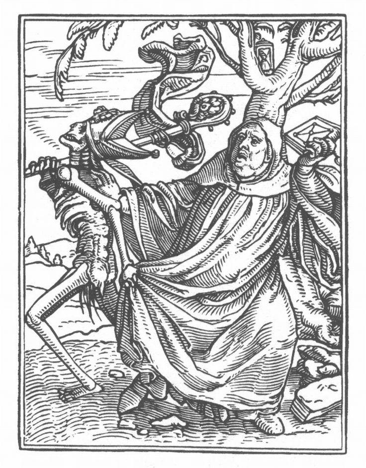 霍爾班(Hans Holbein the Younger, 1497-1543),《死神與修院院長》,1538,木刻,出自:Les simulacres & historiees faces de la mort。
