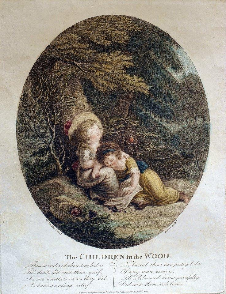 P. W.Tomkins/ Jean Marie Delatre,林中的孩子(The Children in the Wood),彩色銅版細點技法(colour stipple print),1786. 11. 20.。 這張名為《林中的孩子》的細點技法彩色銅版,由版畫家德拉特(Jean Marie Delatre, 1746-1840)按照湯姆金斯(Peltro William Tompkins, 1760-1840)的圖稿製版完成,可謂十八世紀英國典型的風俗畫。畫面中兩名小女孩在樹下遊戲休憩,背景為十八世紀英國肖像畫典型的森林風光,洋溢著英國鄉村的田園氣息。畫面下方有簡短的文字描述。德拉特與湯姆金斯都以版畫著稱,兩人都是當時細點技法大師巴托洛奇(Francesco Bartolozzi, 1727-1815)的學生,(Francesco Bartolozzi, 1727-1815)嫻熟各種銅版技法,尤以細點技法著稱,複刻當時各類歷史與當代圖稿與繪畫作品。