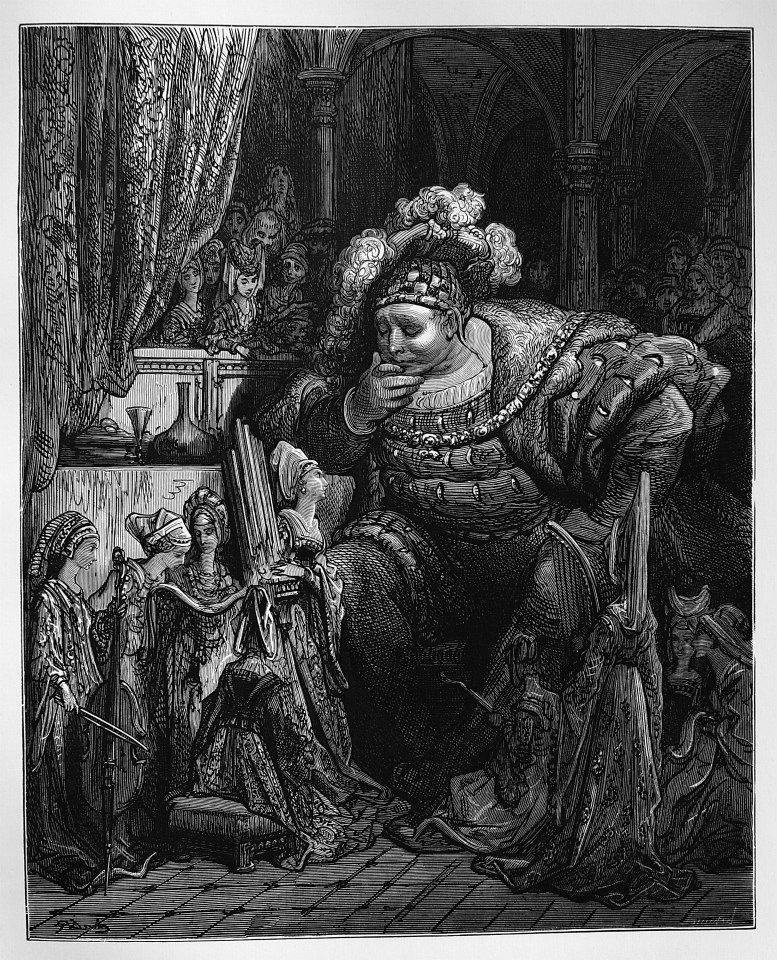 爐火純青的硬木木刻(wood engraving): Rabelais François,《哈伯雷作品集:巨人傳》(Oeuvres de Rabelais. avec les dessins de Gustave Doré. Garnier Frères, Paris, 1873)。