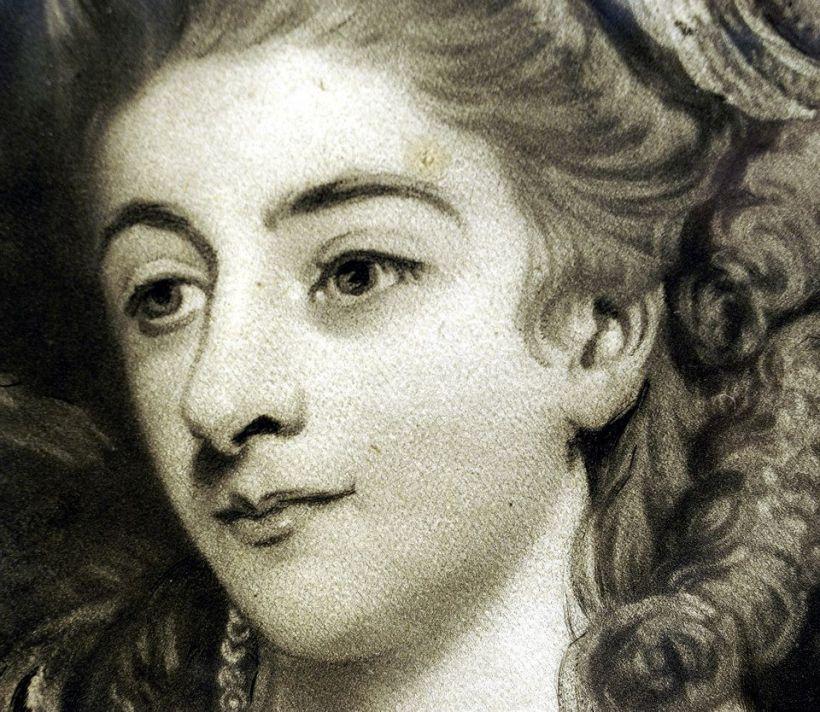 《本懷德女士肖像》局部,可以見到美柔汀銅版畫家瓦特生的細膩技法。