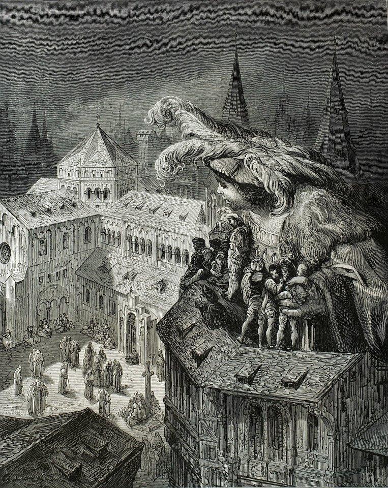 拉伯雷(François Rabelais,1494-1553)是法國文藝復興時期的代表作家,從民間傳說中吸取不少營養,諸如通俗的傳奇文學、喜劇、鬧劇、中世紀的騎士文學作品。作品《巨人傳》,透過父子兩代巨人--卡岡都亞(Gargantua)和龐大古埃(Pantagruel)的探險生涯,以嬉笑暗諷方式,揭露中世紀教會的黑暗和腐朽,反映了文藝復興時期新興的城市中上階級對解放的追求,甫推出,即大受歡迎。這套兩本一組的《巨人傳》為1873年出版,搭配朵黑(Gustave Doré)創作的硬木木刻版畫。他在幻想式的人物造型、騷動的大型場面及許多細微小節上,呈現取之不竭的創作靈感,與其他當代的插圖畫家相比,朵黑確實高明過人。