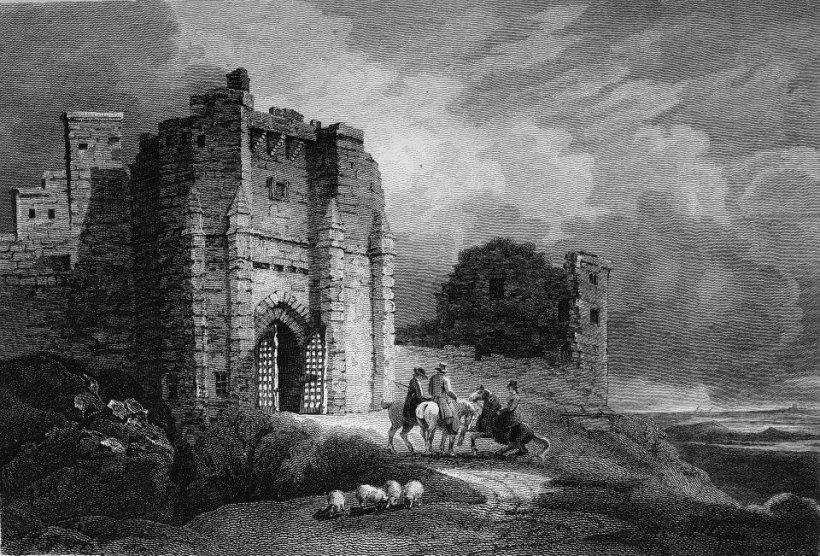 沃克沃司堡(Warkworthcastle)出自:Walter Scott (1771-1832), 《英國暨蘇格蘭古蹟》。華特‧史考特(Walter Scott),英國詩人與小說家,為蘇格蘭首府愛丁堡一沒落貴族後裔,兩歲因患小兒麻麻痺症而終生殘廢,但卻以驚人毅力戰勝殘疾,學會騎馬、狩獵。1789年,入愛丁堡大學攻讀法律,畢業後當了八年律師,後擔任愛丁堡高等民事法庭庭長,直至辭世。十九世紀初,史考特開始從事文學創作,最初以搜集整理蘇格蘭邊區歌謠為主,後投入歷史小說創作,成為英國當代與歐美各地的知名作家,著名作品如《清教徒》(1816)、《羅伯•羅伊》(1817)、《薩克遜劫後英雄傳》(1819)等,此外,還撰有《小說家列傳》、《拿破崙傳》等傳記。在歐洲文學史上,史考特以多產而聞名,寫作速度之快,連法國大文豪巴爾扎克(Honoré de Balzac, 1799-1850)也自嘆不如。 《英國暨蘇格蘭邊境古蹟》一書,描述英國與蘇格蘭交接之處迷人的古蹟,如城堡、修院與名勝遺址,充滿詩情與人文風貌,內含九十一張銅版插圖。