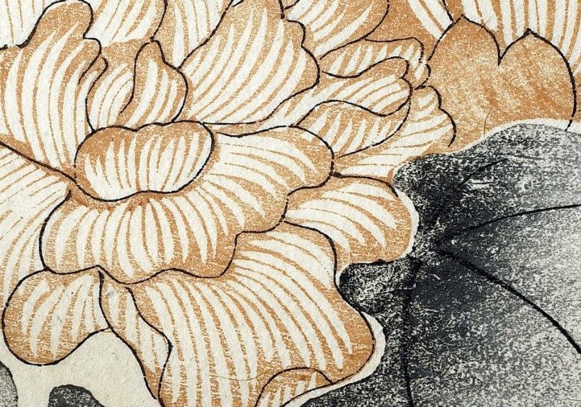 《十竹齋書畫譜》殘頁《荷》局部,可以見到水印木刻暈染的技巧。