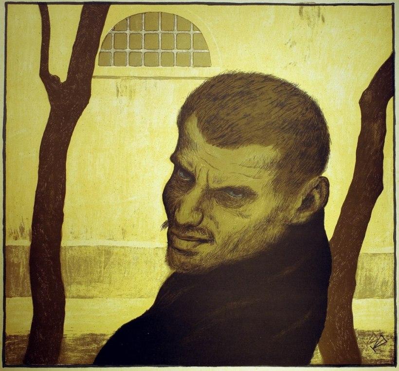 彩色石版(colourlitho): Karl Hofer(1878 – 1955),盜賊(Räuber),彩色石版(colourlitho),約1910。