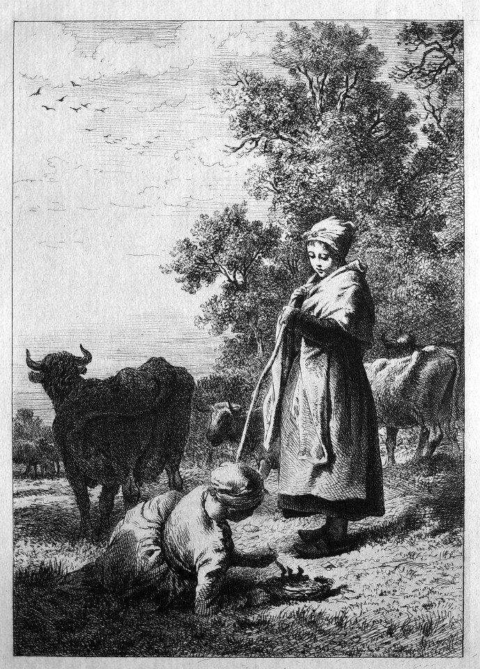 法國楓丹白露森林附近的巴比松鎮,在十九世紀中期醞釀出了以田園自然寫實為主的巴比松畫派(Barbizon School),他們放棄了傳統的形式主義,自然風光由原本的配角一躍成為主角。這幅由查爾斯—愛彌兒‧賈克(1813-1894)於1864年完成的蝕刻版畫,刻繪出一對放牛少女在牧牛之際餵食雛鳥的情景,便貼切展現出巴比松畫派的理念,兩名少女的姿態與神情,為田園風光添上了溫婉的感性。賈克原是地圖刻繪師的學徒,很快嫻熟相關的銅版技法。後來,他投筆從戎,在法國軍隊中服役七年,退役後,仍以版畫家的身份謀職。1845年,他開始畫油畫,也在這個時候,接觸到巴比松畫派。1849年,為了躲避霍亂,舉家遷到巴比松,和米勒(Jean-François Millet, 1814 – 1875)成了好友。在此,他以油畫及銅版技法,紀錄下來豐富的農情生活,也在這個時期,他在銅版技法上繼續精進,被視為十九世紀復興銅版蝕刻技法的人物之一。他的蝕刻線條大膽奔放,內容溫情感人,頗有古風。