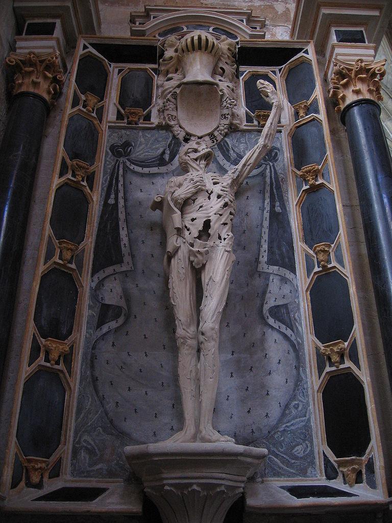 1544年,奧朗奇王子何內(Prince of Orange René of Châlon, 1519 – 1544)過世,享年二十五歲。他的未亡人委託米開朗基羅的學生雕塑家李奇爾(Ligier Richier, 1500-1567)製作陵墓,以裹著屍布的枯骨將自己的心獻給上帝,那身後敞開的藍色絲絨袍子,無疑地代表他在人世的名譽與地位。法國巴勒迪克(Bar-le-Duc)聖埃蒂安教堂(Church of Saint-Étienne)。