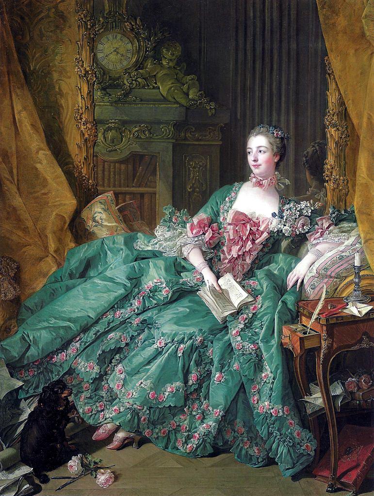 布雪(François Boucher),《龐巴度夫人肖像》(Madame de Pompadour),1756,油彩畫布,212 × 164 cm,Alte Pinakothek, Munich, Germany。這張應是最著名的龐巴度夫人肖像畫,展現龐巴度夫人對洛可可風格家具的喜愛,而她閱讀的書與寫字桌上的筆墨、燭台、火漆與信,可以說明她對藝文的關注與支持。畫家布雪運用流暢的筆觸與輕盈柔和的色彩,捕捉住當時上流社會的品味,畫中人物高貴優雅,美貌才智在這交融合一。
