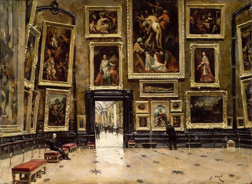 布隆(Alexandre Brun, 1853-1941),羅浮宮方形大廳一幕,約1880,油彩畫布,巴黎羅浮宮藏。