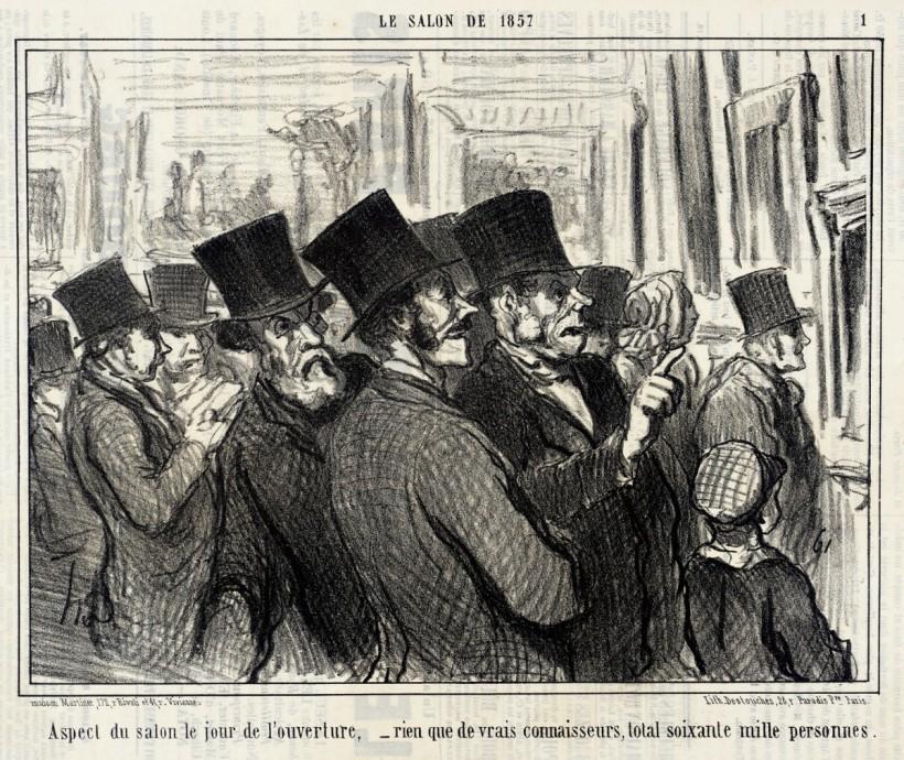 杜米埃,沙龍展開幕日,1857,石版。