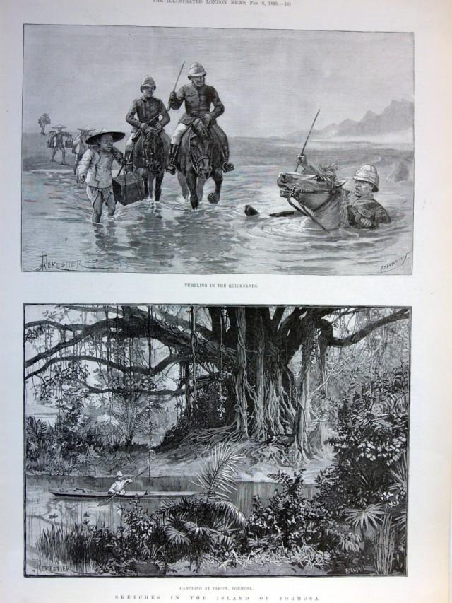 單頁ILLUSTRATED LONDON NEWS畫報,一八九0年二月八日。含二張木刻插圖與畫報背面報導文章,品相良好。本張畫報描繪作者在打狗附近泛舟的情景與他們一行出遊時遇見流沙的畫面。