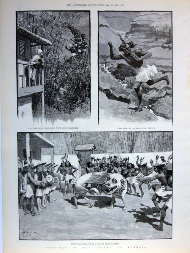 單頁ILLUSTRATED LONDON NEWS畫報,1890年2月22日。含三張木刻插圖與畫報背面報導文章,品相良好。本張畫報描繪作者遇見原住民打獵歸來的景象,以及舞獅娛樂的場面。