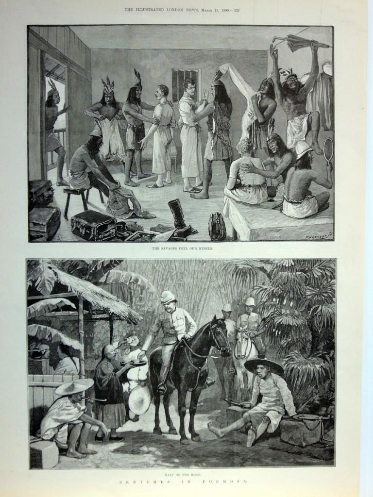 單頁ILLUSTRATED LONDON NEWS畫報,1890年3月15日。含二張木刻插圖與畫報背面報導文章,品相良好。本張畫報描繪作者一行在西班牙傳教士住所受到招待的景象,並遇見當地原住民流露出他們遇見外國人時的好奇與天真。