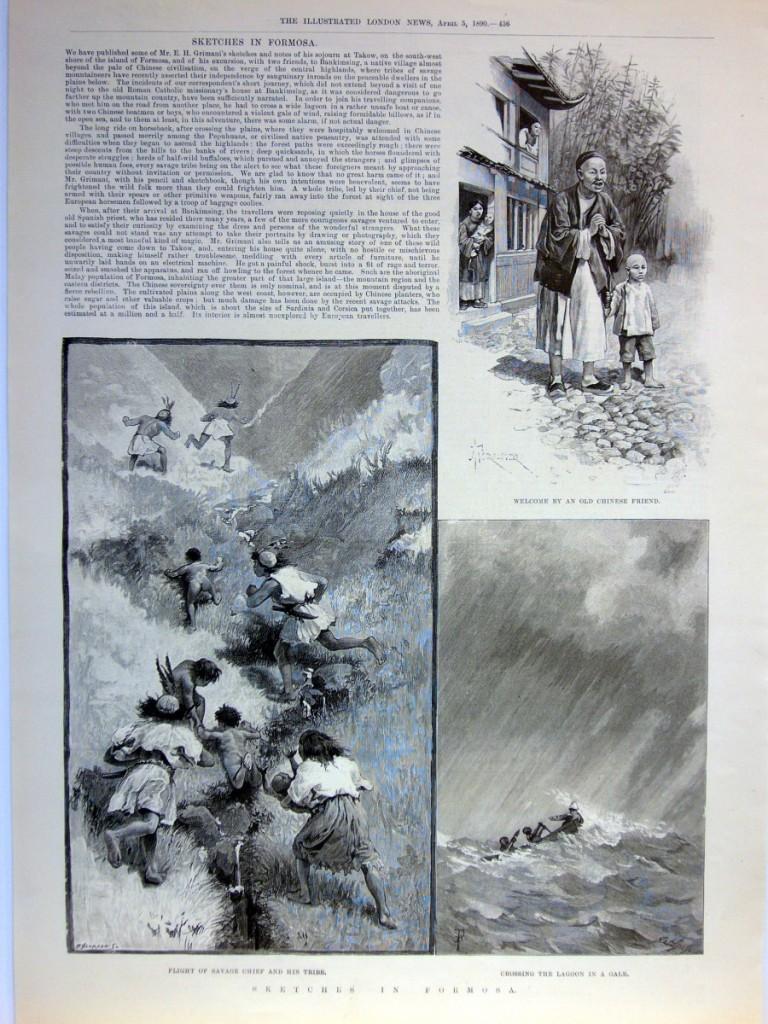 單頁ILLUSTRATED LONDON NEWS畫報,1890年4月5日。含三張木刻插圖與報導文章,品相良好。本張畫報描繪作者旅途中的其他插曲,如受到好友的接待、原住民遇見他們時的驚慌失措,以及遇見風雨渡湖的情景。