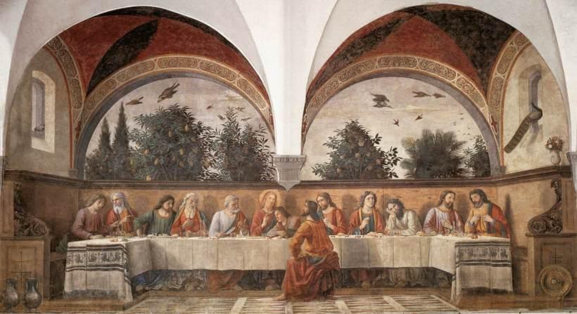 吉蘭戴奧(Domenico Ghirlandaio, 1449-1494),最後晚餐,壁畫,1480,義大利佛羅倫斯諸聖教堂(Chiesa di Ognissanti, Florence)。