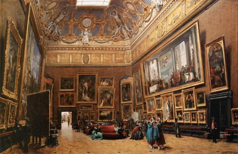 卡斯提奇里昂(Giuseppe Castiglione, 1829–1908),羅浮宮方形大廳一幕,1861,油彩畫布,巴黎羅浮宮藏。