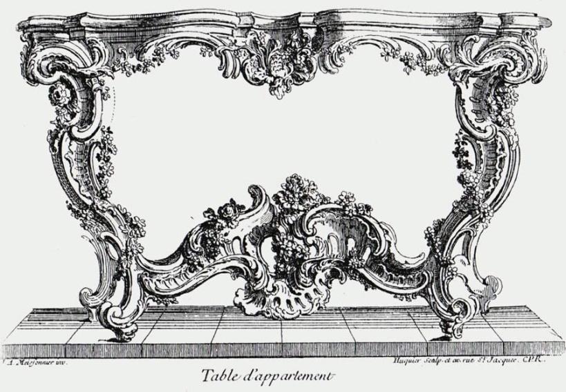 梅松尼耶(Juste-Aurele Meissonnier, 1695–1750),玄關邊桌設計圖,約1730,銅版直刻。可以見到洛可可典型的S與C型曲線及不對稱設計。