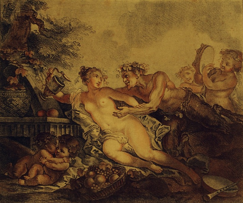 Philippe Caresme ( 1734-1796) / Gilles Demarteau (1722 – 1776),調情中的森林之神與水仙寧芙(Faun flirting with Nymphe),紅色粉筆銅版腐蝕技法(red crayon manner),約1780。