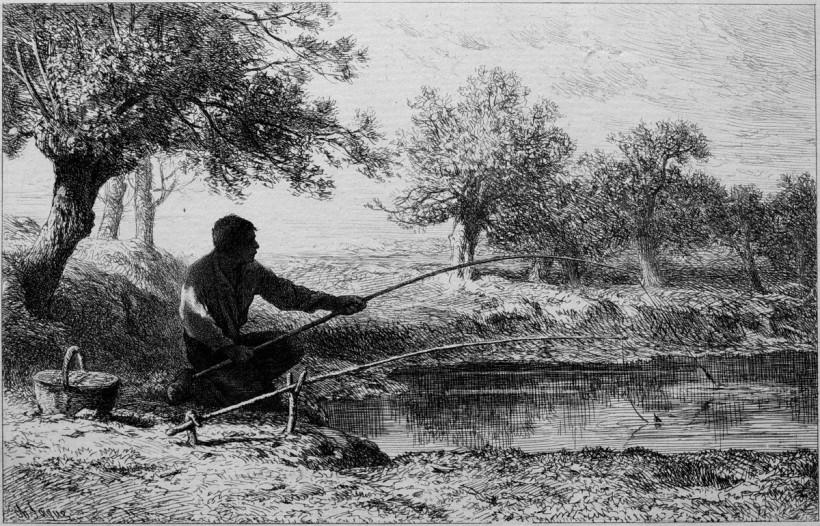 這幅由查爾斯—愛彌兒‧賈克(1813-1894)於1864年完成的蝕刻版畫,刻繪一名男子在樹蔭下拋竿垂釣的作品,便貼切展現出巴比松畫派的理念,藉由對池水、樹木及光影的細膩呈現,展現田園生活特有的安詳氛圍。