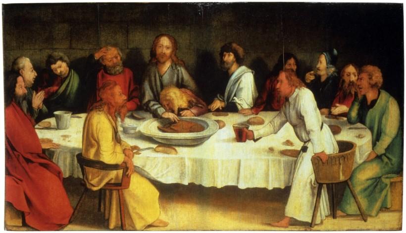 格林瓦德(Matthias Grünewald, c.1470- 1528),最後晚餐,蛋彩木板,約1500,德國科布古堡(Veste Coburg)。