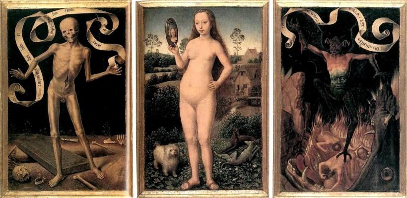 梅林(Hans Memling, c. 1430 – 1494),人世虛空與救贖三連作(Triptych of Earthly Vanity and Divine Salvation),約1485,史特拉斯堡美術館(Musée des Beaux-Arts de Strasbourg)。 左右的死神與地獄場面,加深了中間攬鏡裸女的對比,美貌無常與生命的最終依歸,應是當時人念茲在茲的事。