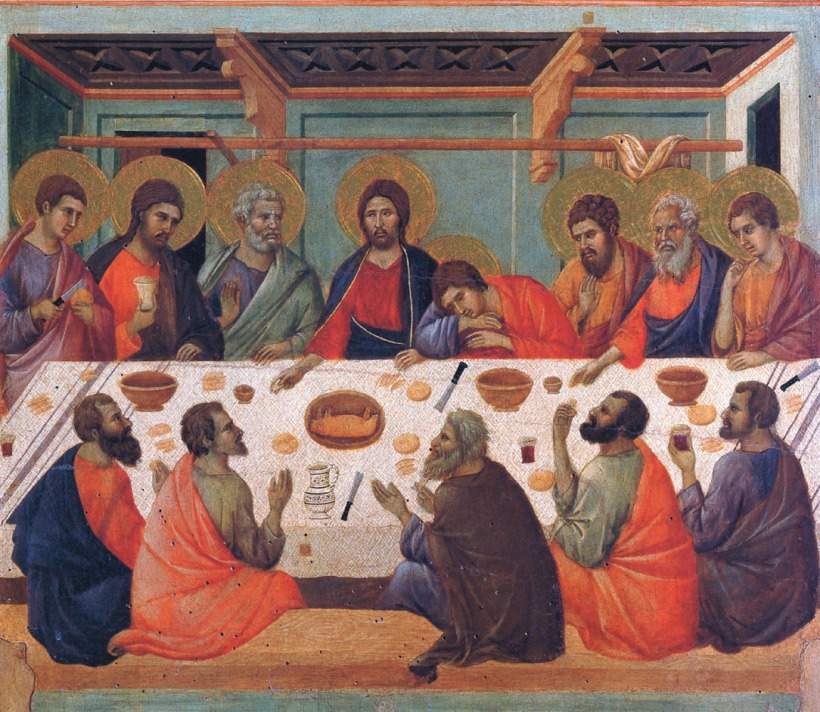 杜奇歐(Duccio di Buoninsegna, c.1255 - c.1318),最後晚餐,聖母加冕系列(Maesta)之一,蛋彩木板,1308-1311,義大利西耶納大教堂美術館(Museo dell Opera del Duomo Siena)。