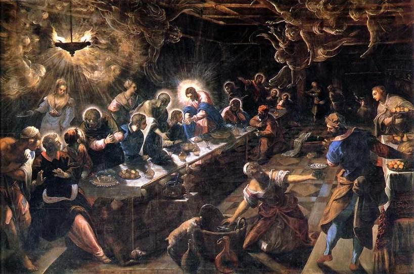 丁托列托(Tintoretto, 1518-1594),最後晚餐,油彩畫布,1592–1594,威尼斯聖喬治大教堂(Basilica di San Giorgio Maggiore)。