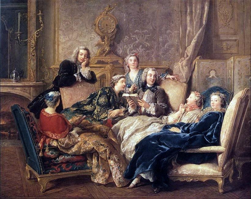 德‧特洛伊(Jean-François de Troy, 1679-1752),《閱讀莫里哀》(A Reading of Molièr),約1728,油彩畫布,72.4 x 90.8 cm,私人收藏。此圖貼切呈現當時私人沙龍的親密氛圍。
