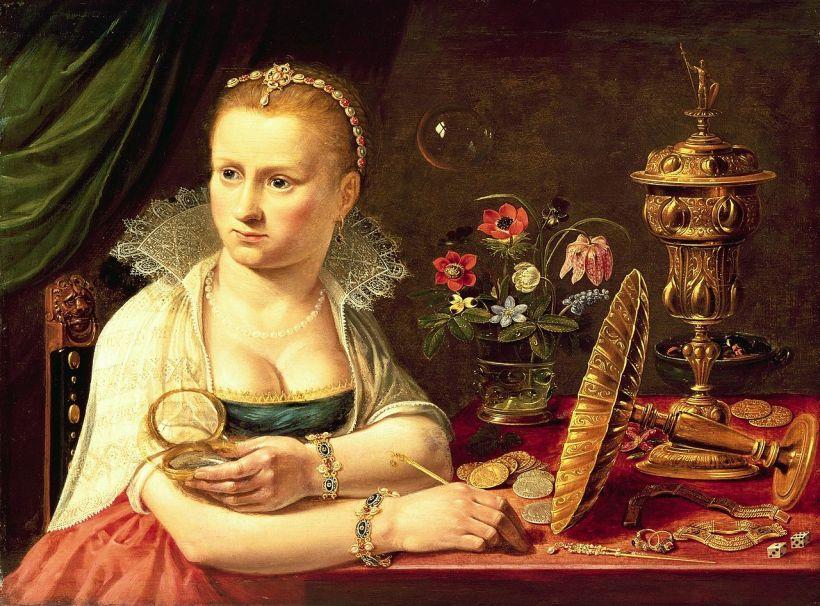 克拉拉‧彼得斯(Clara Peeters, 1594 – c. 1657),女子肖像(寓意虛空),私人收藏。 對克拉拉‧彼得斯的生平,所知不多,從風格判斷,她應該來自安特衛普,擅長靜物畫,活躍於十七世紀初。這張女子肖像,她刻意凸顯肉體的誘惑,再襯上其他虛空的隱喻物件,讓觀者不得不沈思人生的意義。