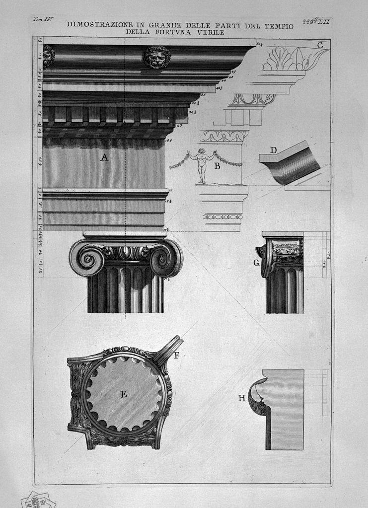 義大利藝術家皮拉奈奇(Giovanni Battista Piranes, 1720-1778)繪製的門神與牲畜之神波圖努斯神殿(Temple of Portunus),出自:《羅馬古物》(Le antichità Romane. Tomo IV, tav. LII.), Paris, 1835-1839。