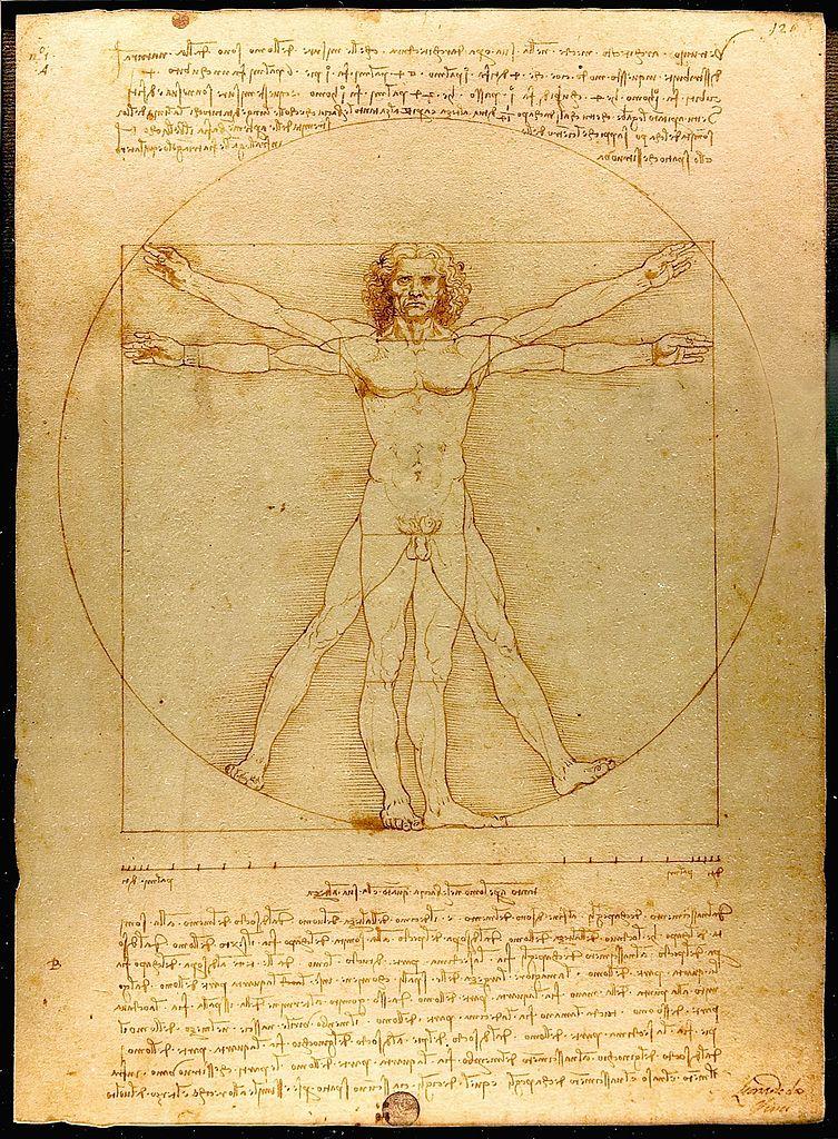 達文西的《維特魯威人》(Vitruvian man),約1492,鉛筆墨水。