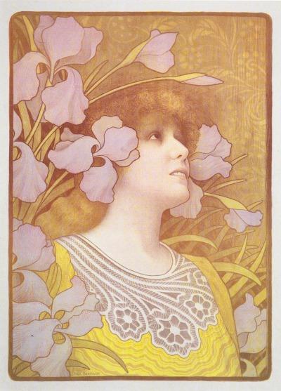 作者:Berthon, Paul (French, 1872-1909) 名稱:莎拉•伯恩哈特(Sarah Bernhardt)。 署名:版上左下角署名Paul Berthon。 技法:彩色石版(Lithograph in colors)。 年代:1901或稍晚。 尺寸:51 x 36 cm。(P K-047)