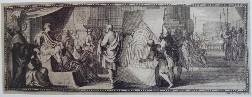 維特魯威將《建築十書》獻給羅馬皇帝奧古斯都,1684年銅版畫。可以看見後方位於義大利波佐利(Pozzuoli)的競技場,那是在奧古斯都與維特魯威過世後建成的。出自:克勞德‧佩勞(Claude Perrault),《維特魯威建築十書》(Les dix livres d'architectura de Vitruve)。