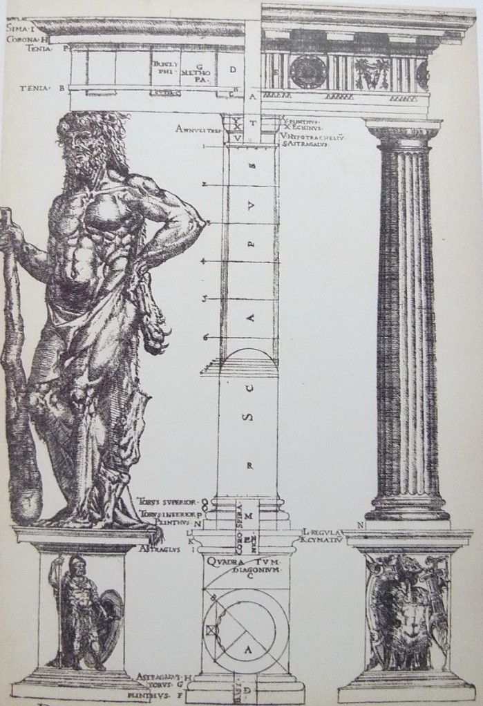 英國建築師約翰‧舒特(John Shute,?- 1563)在其論古典建築的著作《建築的基石》(The First and Chief Grounds of Architecture)中,將維特魯威的人體比附圖像畫,多立克柱式為男性。