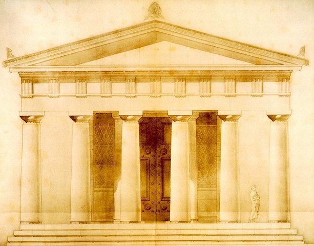 希臘提洛島(Delos)的阿波羅神殿(Temple of the Delians),十九世紀墨水筆復原圖。