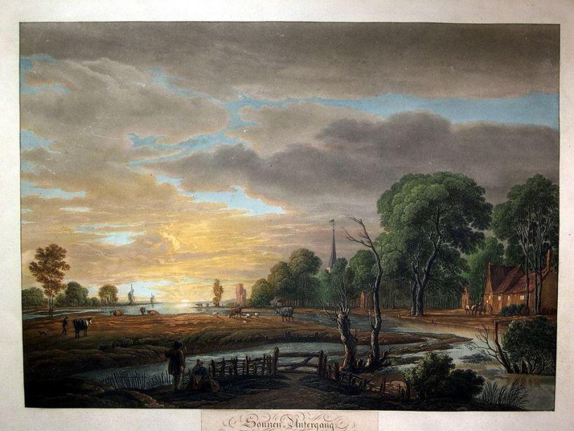 作者:van der Neer, Aert. (1603-1677)/ Radl, A. 名稱:夕陽(Sonnen-Untergang)。 署名:van der Neer, Aert./ Radl, A.。 技法:彩色粉末腐蝕法(colour aquatint)。 年代:約1830。 尺寸:41x 56,5 cm/ 52,5 x 67,5 cm。(P D-006) 作品介紹:西洋版畫技法問世後,一直保持著兩種傳統,一是藝術家不斷自行製作藝術版畫,一是版畫藝師運用版畫技法複製繪畫及其他藝術作品。這張便是德國版畫藝師拉德(A. Radl)倣刻荷蘭風景畫家愛爾特‧凡‧德‧尼爾(Aert van der Neer, 1603-1677)的油畫作品,按畫面下緣文字說明,這張畫作當時收藏在德國阿沙芬堡(Aschaffenburg)的宮廷藝廊中。 愛爾特‧凡‧德‧尼爾是十七世紀荷蘭黃金時期的風景畫家,長於繪製夜景,以月夜、夜裡火光和冬天雪景為主軸,畫面經常出現畫家偏愛的祖國荷蘭的河流及河道,伴隨著日落或夜晚。他的作品為數不少,世界各地重要美術館皆有藏品。 荷蘭的風景版畫一直受到當時西方人士的喜愛,不管是油畫原作或風景版畫,都有一定的客層。這張名為《夕陽》的作品,便是典型的荷蘭風景畫,天空佔去三分之二的畫面,樹叢、屋舍、牛隻、河流,錯落有致,靄靄的暮雲加重了畫面的深沈氣氛,不同於其他地區的風景繪畫。彩色粉末腐蝕法在這忠實模仿出油畫厚重的質感,不失為一張傑出的藝品。