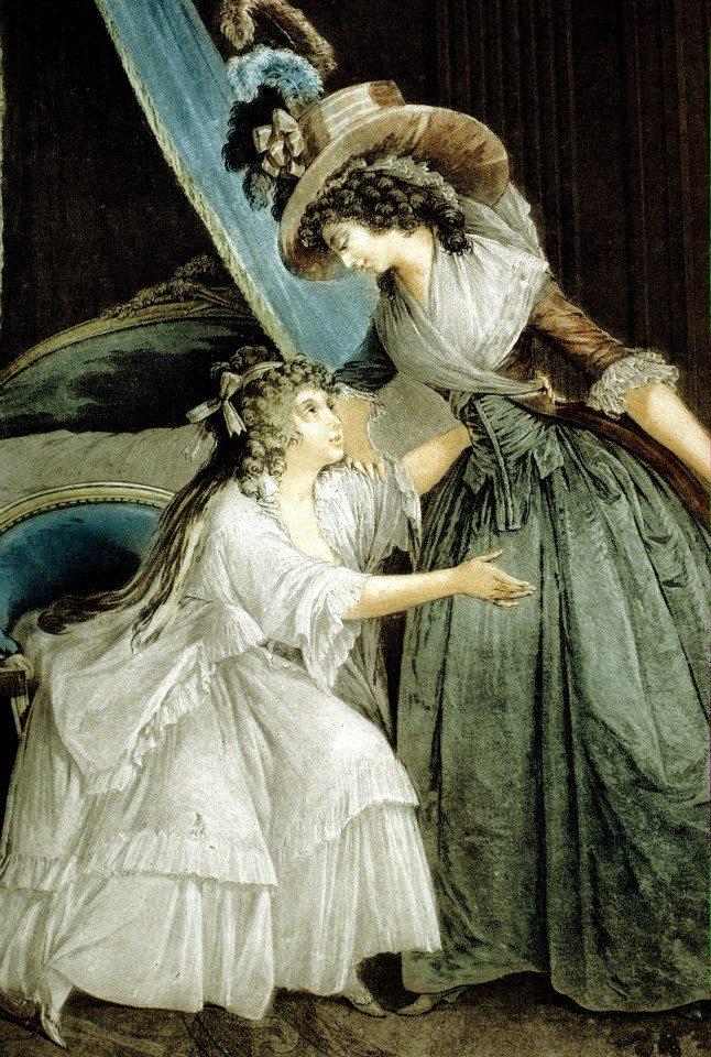 《閨房裡的信》局部一,背景透過磨刻技法,藍衣女子的衣裙透過粉末腐蝕法,白衣少女的衣裙則可見到粉筆技法的痕跡。