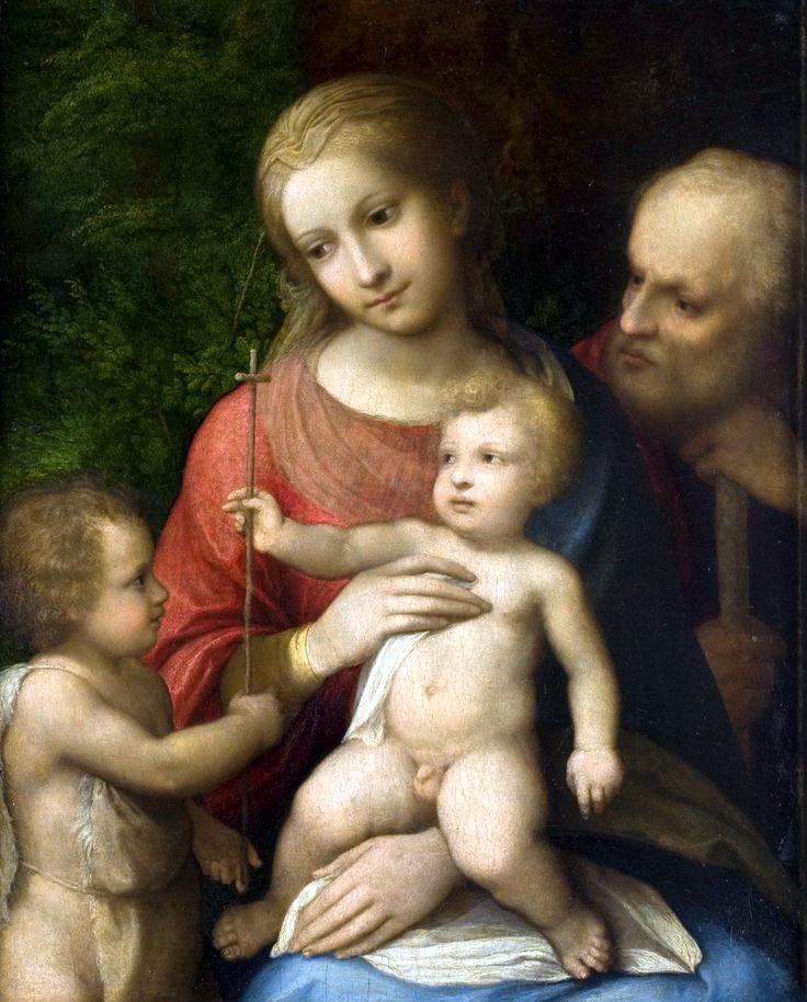 柯雷吉歐,神聖家庭( Holy Family) ,油彩畫布,1518-1519,現藏於巴黎奧爾良美術館(Musée des beaux-arts d'Orléans)