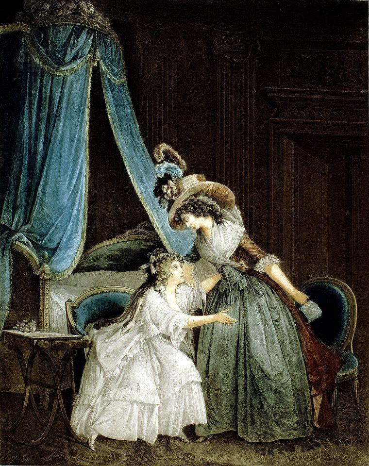 傑尼內,複刻尼可拉斯.拉弗倫斯(Nicolas Lavreince, 1737-1807)《閨房裡的信》,彩色銅版,約1786。