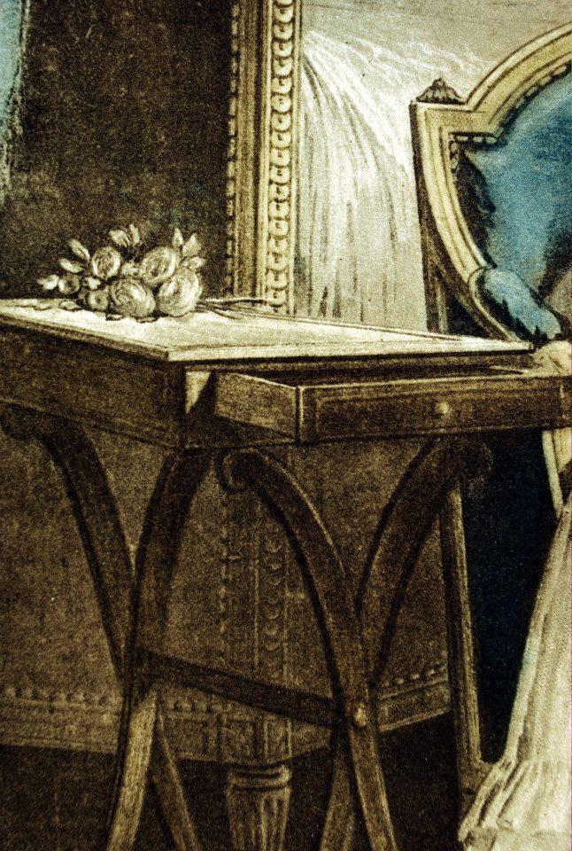 《閨房裡的信》局部二,法國洛可可的室內家具,路易十六的風格已經浮現。