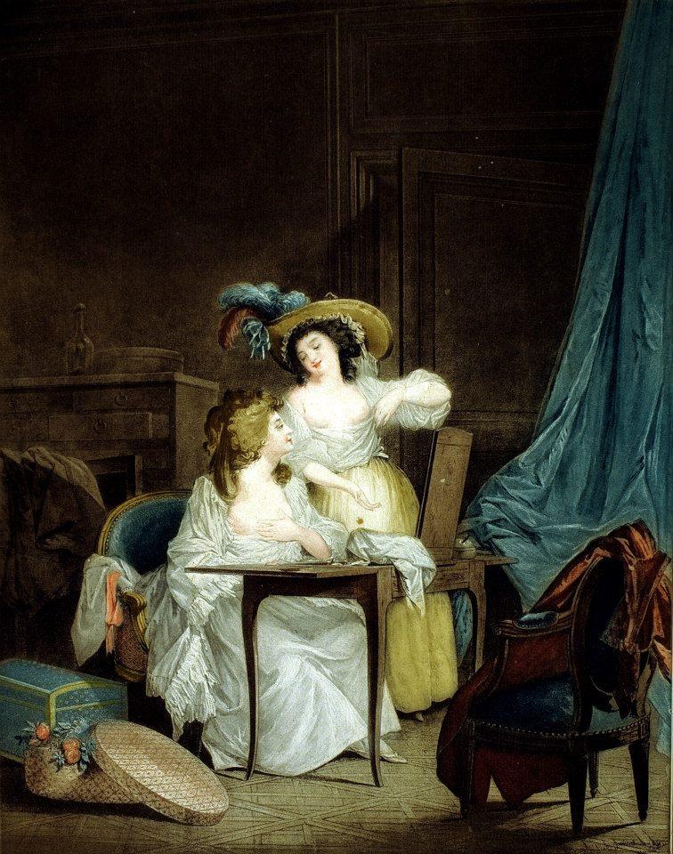 傑尼內,複刻尼可拉斯.拉弗倫斯《閨房》,彩色銅版,1786。這幅版畫作品,以法國女性的閨房意趣為主,在私密的閨房空間裡,兩位少女在鏡前羅衫輕解,狀似沈浸於分享彼此身體的秘密與保養心得。後方半開的抽屜、前後座椅上擱置的外衣、座椅下方擺放的衣帽盒等,可見巴黎時尚社會對梳妝與美貌的重視與嚮往。藝術家細密的心思與手法,表現在女主角純白,卻仍顯華麗的衣著與高級衣料的掌握,友人頭上華麗而逼真的羽絨帽,也將畫面妝點得更加協調。梳妝台上同時配置了女性梳妝不可或缺的工具——鏡子、梳子、香水與粉撲,搭配著室內曲線典雅的法式家具,點綴出雍容華貴的氛圍。兩位女性輕鬆陶醉、彼此心領神會的面部表情,充分展現出畫家在畫面上的敘事功力,版畫家傑尼內更以高超的手法,結合數種彩色銅版技法,如細點技法、粉末腐蝕法…等,在忠實呈現原作風格與佈局下,為複刻作品增添不同的精緻效果。
