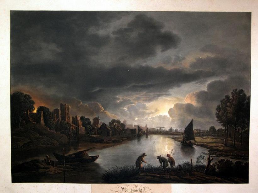作者:van der Neer, Aert. (1603-1677)/ Radl, A. 名稱:月夜(Mondnacht)。 署名:van der Neer, Aert./ Radl, A.。 技法:彩色粉末腐蝕法(colour aquatint)。 年代:約1830。 尺寸:41x 56,5 cm/ 52,5 x 67,5 cm。(P D-007) 作品介紹:西洋版畫技法問世後,一直保持著兩種傳統,一是藝術家不斷自行製作藝術版畫,一是版畫藝師運用版畫技法複製繪畫及其他藝術作品。這張便是德國版畫藝師拉德(A. Radl)倣刻荷蘭風景畫家愛爾特‧凡‧德‧尼爾(Aert van der Neer, 1603-1677)的油畫作品。 愛爾特‧凡‧德‧尼爾是十七世紀荷蘭黃金時期的風景畫家,長於繪製夜景,以月夜、夜裡火光和冬天雪景為主軸,畫面經常出現畫家偏愛的祖國荷蘭的河流及河道,伴隨著日落或夜晚。他的作品為數不少,世界各地重要美術館皆有藏品。 這張名為《月夜》的作品原作為當時德國法蘭克福的私人收藏,寧靜的河面在月光下泛出銀色的光芒,前景的人物正在捕捉魚蝦,或其他生物。房舍逐漸向遠方延伸,地平線上浮現出成是的輪廓,墨藍色的雲影讓畫面顯得更加遼闊,構成動人的風景。