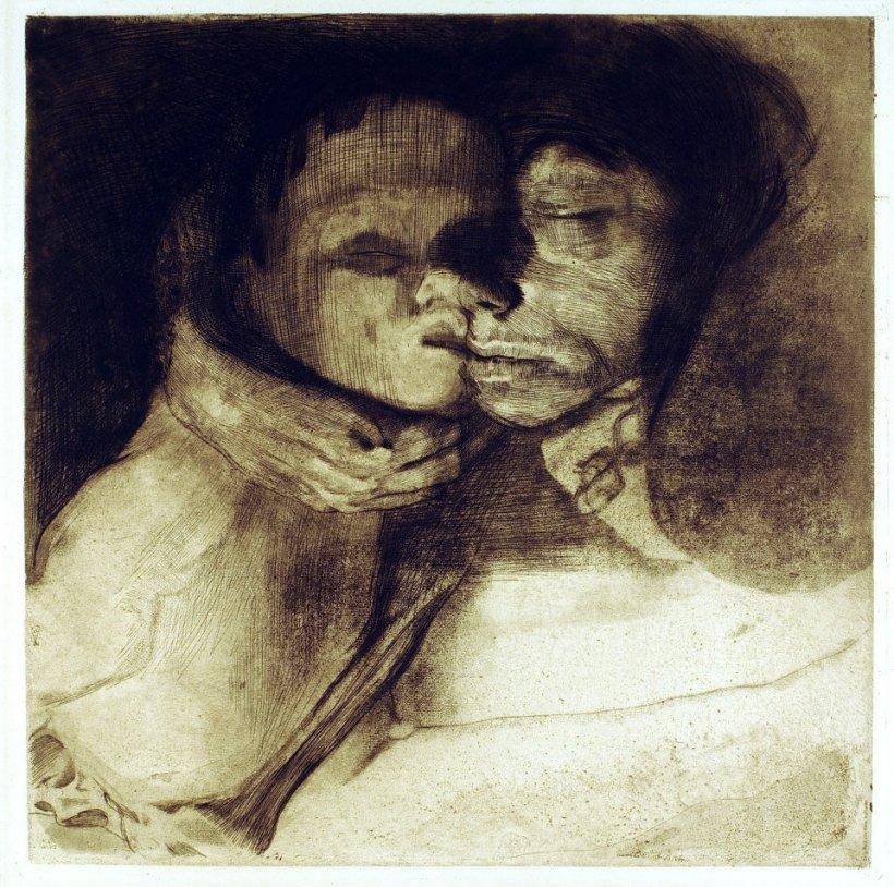 作者:Kollwitz, Käthe (1867-1945) 名稱:母子與死神(Tod und Frau um das Kind ringend)。 署名:Orig. Rad. von Käthe Kollwitz/ Druck v. O. Felsing Berlin-Chlttbg。 技法:銅版腐蝕法與粉末腐蝕法(etching & aquatint)。 年代:1911。 尺寸:41 x 41 / 53 x 49,5 cm。(P K-005) 作品介紹:德國社會寫實主義藝術家柯羅薇芝(Kathe Kollwitz, 1867-1945)主要創作題材多具社會批判意識,畫面中鋪陳出來的多半是因為社會問題及戰爭,而遭到死亡、貧窮及其它苦難威脅的人類。當時人們難以相信,這些悲慘沈重的作品竟然出自一位女性之手。柯羅薇芝的先生是位服務窮人的醫生,讓她直接接觸到下層民眾的苦難。當時工業發展帶來的各種社會問題叢生,不義之事隨處可見。她的敏銳與正義,導致她終身為改革社會而奮鬥,並與專制政府進行鬥爭。德國納粹政府上台後,逼她離開了任教的柏林美院,1936年後,禁止她展出作品。1943年,她在柏林的住處及工作間遭到破壞,許多版畫印版被毀。她死於1945年4月22日,未能親眼見到二次大戰的結束及納粹政府的失敗。她死後八天,希特勒自殺,五月初德軍無條件投降。 這幅作品是她1910年左右,一系列有關母子與死亡的作品之一,突破她原有的風格。畫面中一位母親緊摟著自己的孩子,死神的手正從左下角伸過來,準備奪走孩子。生離死別的張力,在這裡以母子最後的擁抱呈現出來,柯羅薇芝擅長的蝕刻技法,在這展露無遺,線條力道十足,彷彿也感受到母親的不捨與絕望。