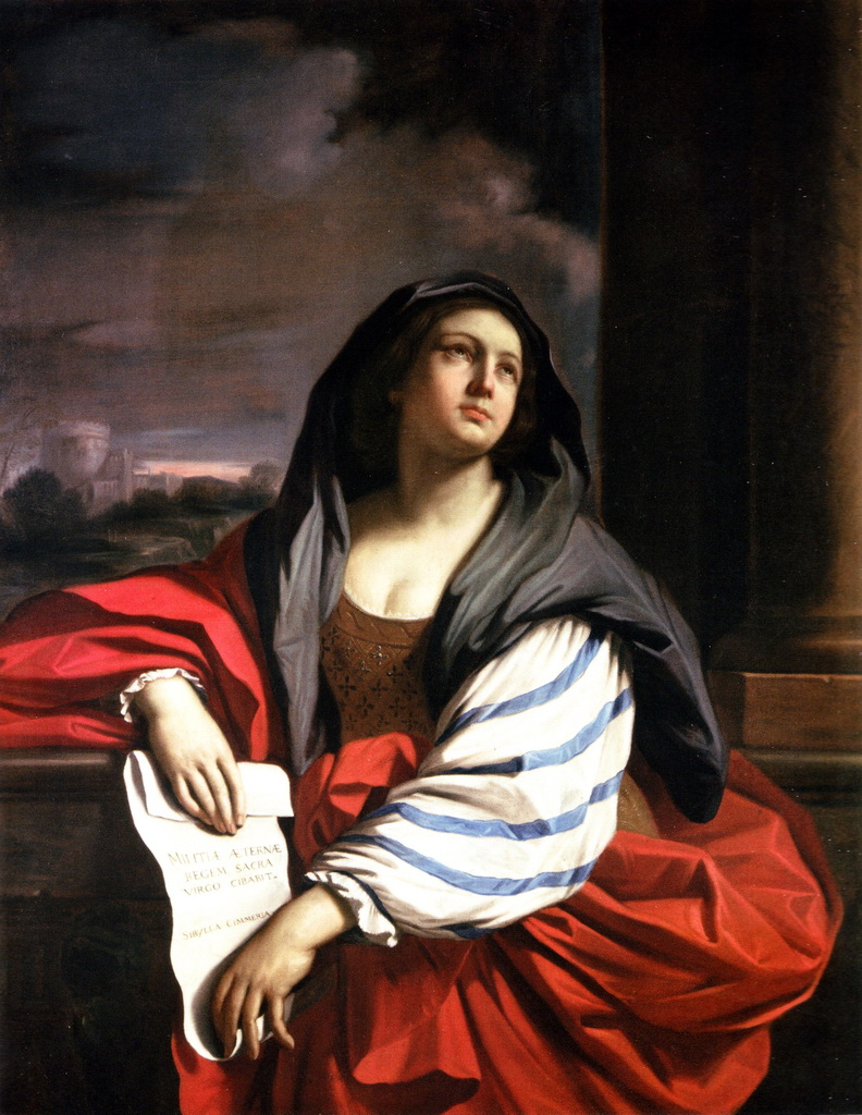 古耶奇諾,女先知絲瑪麗安(Cimmerian Sibyl),油彩畫布,1638,收藏者不詳。