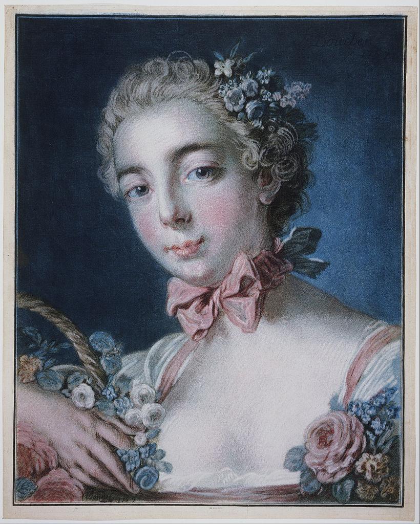 波內,複刻布雪《花神頭像》,彩色銅版粉筆技法(colour crayon manner),八張印版,1769年。