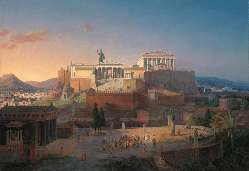德國新古典主義畫家與建築師李奧‧馮‧克倫策(Leo von Klenze, 1784 - 1864),雅典衛城與亞略巴古(Areopagus)復原圖,1846,油彩畫布,Neue Pinakothek Munich。