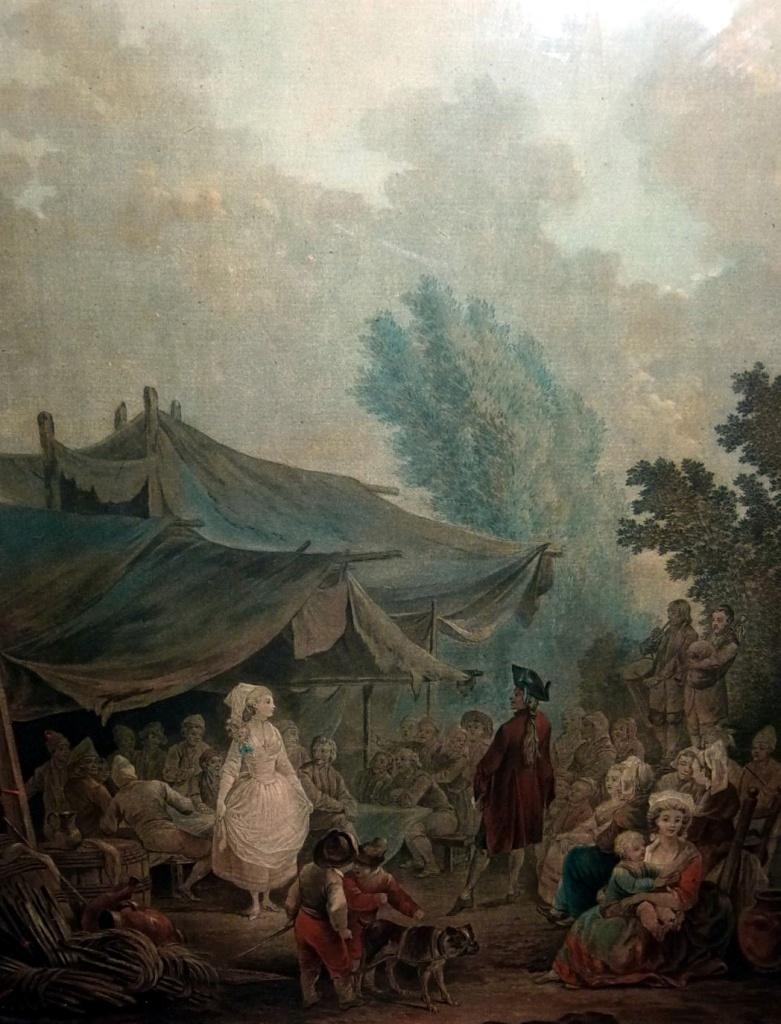 德斯庫逖,《鄉間的婚禮》,彩色粉末腐蝕法,1790年代。