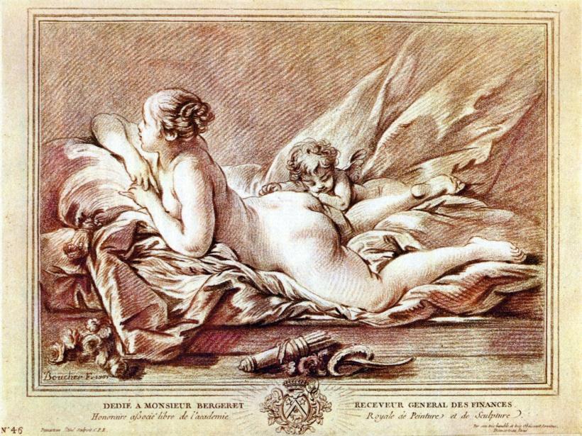 迪瑪托,複刻布雪(François Boucher, 1703-1770)《裸體》,彩色銅版粉筆技法(colour crayon manner),約十八世紀後半葉。