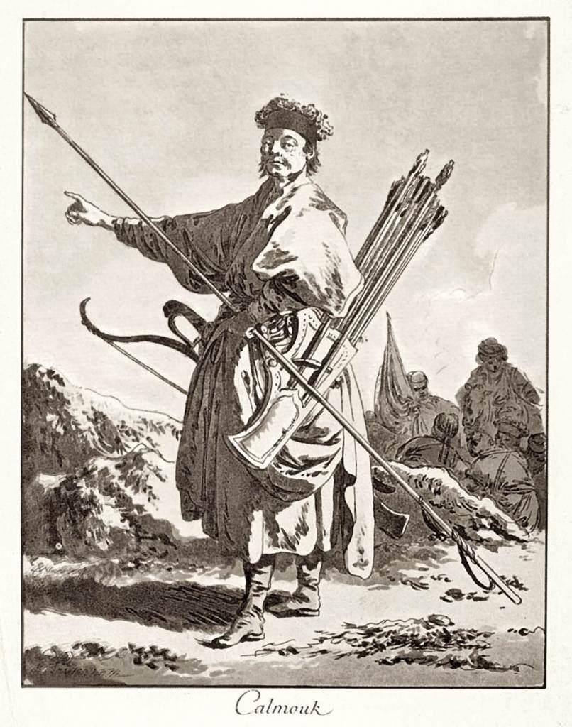 勒普宏斯,《卡勒木肯人》(Calmouk),1771,粉末腐蝕法。勒普宏斯在這以自己新發明的技法記錄了他在俄國的所見所聞。