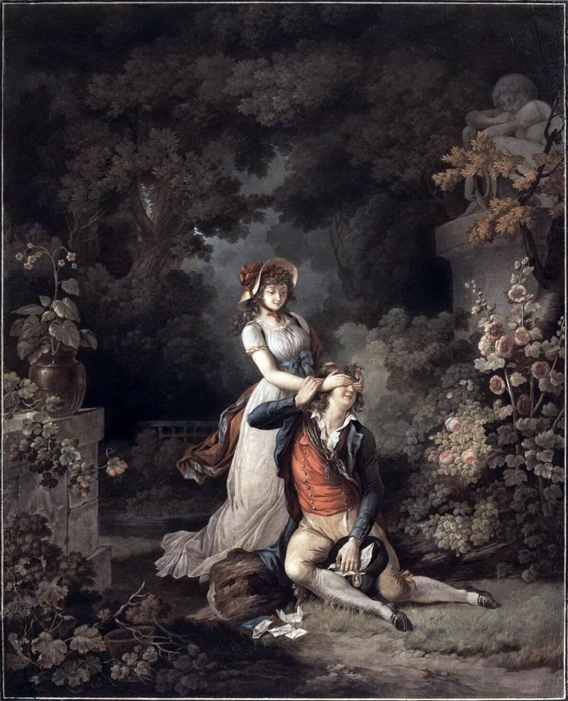 德斯庫逖,《愛的驚嚇》,彩色粉末腐蝕法,1790年代。